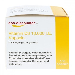 德国apo-discounter 维生素 D3 胶囊 10,000 国际单位250 [my]g(180 粒)