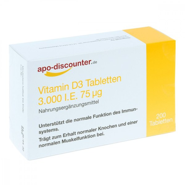 德国APO维生素D3片剂 3000 国际单位75μg(200 片)