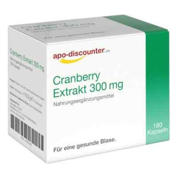 德国APO蔓越莓提取物 300 mg 胶囊(180 粒)