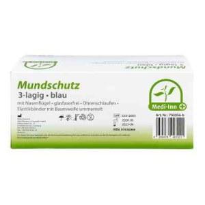 Medi Inn Mundschutz Maske mit Bändern blau (50 stk)