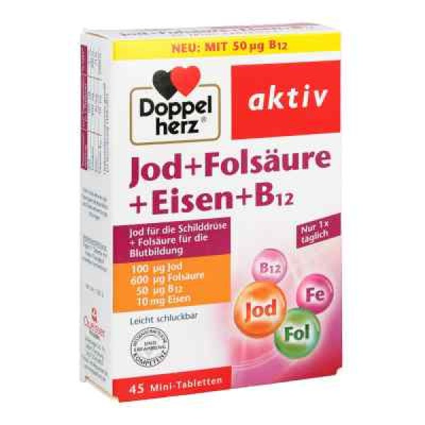 Doppelherz Jod + Folsäure + Eisen + B12 Tabletten (45 stk)